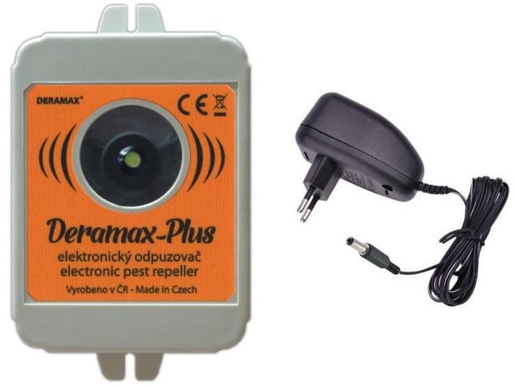 Deramax-Plus - ultrazvukový odpuzovač-plašič kun a myší včetně síťového adaptéru