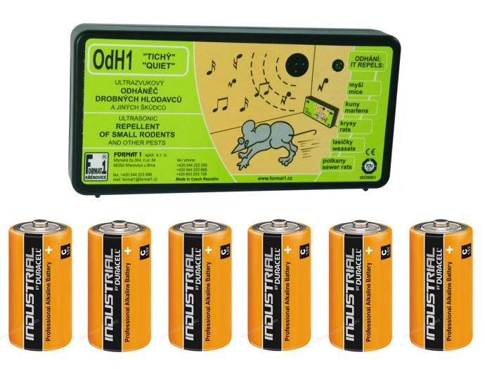 OdH1 tichý - ultrazvukový odpuzovač myší a kun + 6 ks baterií