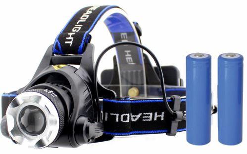 Čelová LED CREE XM-L T6 10W zoom 950 lm + ZDARMA 2x nabíjecí akumulátor