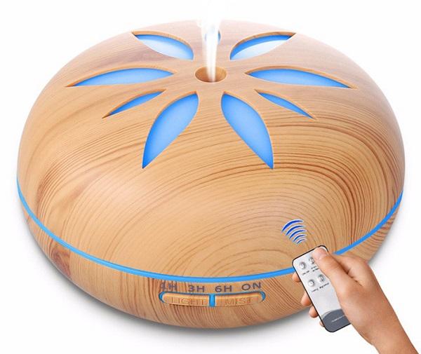 Aroma difuzé Y02 světlé dřevo - ultrazvukový, 7 barev LED, dálkové ovládání