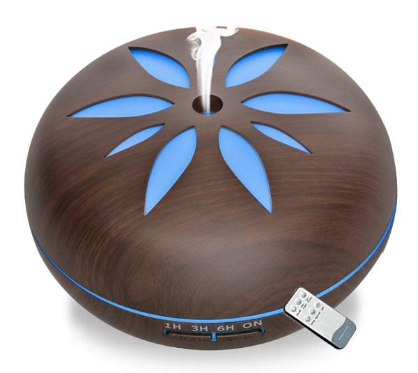 Aroma difuzé Y02 tmavé dřevo - ultrazvukový, 7 barev LED, dálkové ovládání