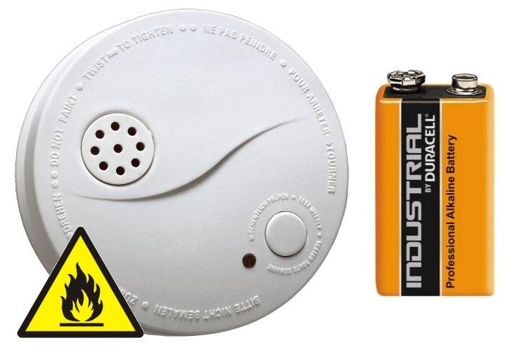 Požární hlásič a detektor kouře s alarmem BATERIE DURACELL 9V ZDARMA